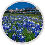 Bluebonnets In Dallas Round Beach Towel by Inge Johnsson