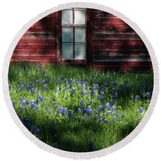 Round Beach Towel featuring the photograph Bluebonnets In The Shade by David and Carol Kelly