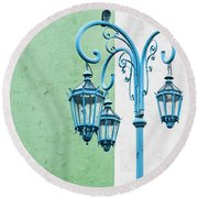 Blue,green And White Round Beach Towel