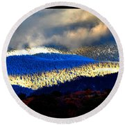 Round Beach Towel featuring the photograph Blueray Winter New Mexico by Susanne Still