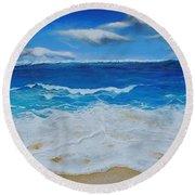Blues And Foam Round Beach Towel