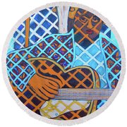 Round Beach Towel featuring the painting Blues Guitar - Nine Strings by Denise Weaver Ross