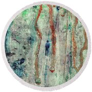Standing In The Rain - Large Abstract Urban Style Painting Round Beach Towel
