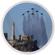 Blues Over Alcatraz Round Beach Towel