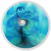 Round Beach Towel featuring the digital art Bluescape by Linda Sannuti
