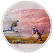 Bluethroat On The Tundra #2 Round Beach Towel