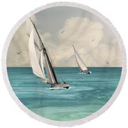 Bluewater Cruising Sailboats Round Beach Towel