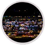 Blurred City Lights  Round Beach Towel
