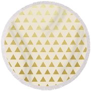 Blush And Gold Triangles Round Beach Towel by Uma Gokhale