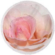 Blush Pink Dewy Rose Round Beach Towel