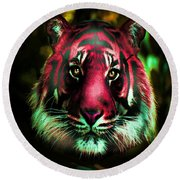 Round Beach Towel featuring the photograph Blushing Tiger by George Pedro