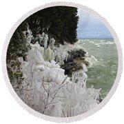 Blustery Lake Michigan Day Round Beach Towel by Greta Larson Photography