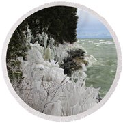 Round Beach Towel featuring the photograph Blustery Lake Michigan Day by Greta Larson Photography