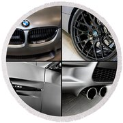 Vehicles Round Beach Towel featuring the photograph Bmw M3 Collage by Aaron Berg