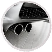 Vehicles Round Beach Towel featuring the photograph Bmw M3 Exhaust  by Aaron Berg