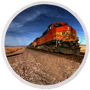 Bnsf Freight  Round Beach Towel by Rob Hawkins