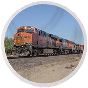 Round Beach Towel featuring the photograph Bnsf7890 by Jim Thompson