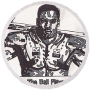 Bo Jackson The Ball Player Round Beach Towel by Jeremiah Colley