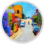 Round Beach Towel featuring the painting Bo-kaap by Chris Armytage