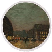 Boar Lane, Leeds, By Lamplight By John Atkinson Grimshaw. Round Beach Towel