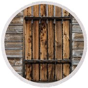 Boarded Window Round Beach Towel