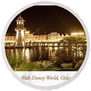 Boardwalk At Night, Walt Disney World Round Beach Towel