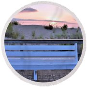 A Welcome Invitation -  The Boardwalk Bench Round Beach Towel