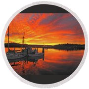 Boardwalk Brilliance With Fish Ring Round Beach Towel