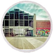 Round Beach Towel featuring the photograph Boardwalk Casino - Asbury Park by Colleen Kammerer