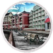 Boardwalk Early Morning Mp Round Beach Towel