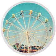 Boardwalk Ferris Wheel Round Beach Towel