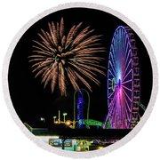 Boardwalk Fireworks, Seaside Nj Round Beach Towel