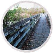 Boardwalk In The Wetlands Round Beach Towel