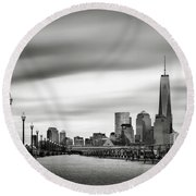 Boardwalk Into The City Round Beach Towel
