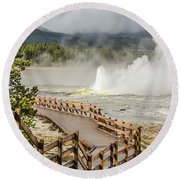 Boardwalk Overlooking Spasm Geyser Round Beach Towel