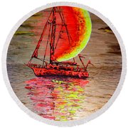 Boat #2 Round Beach Towel