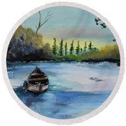 Round Beach Towel featuring the painting Boat Abandoned On The Lake by Jan Dappen