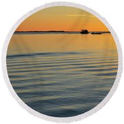 Boat And Dock At Dusk Round Beach Towel