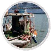 Boat And Ship Round Beach Towel