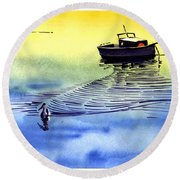 Boat And The Seagull Round Beach Towel by Anil Nene