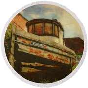Boat At Apalachicola Round Beach Towel