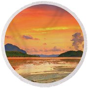 Boat At Sunset Round Beach Towel