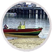 Boat At The Beach Provincetown Round Beach Towel