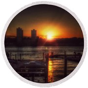 Round Beach Towel featuring the photograph Boat Basin Gold - Sunset In New York by Miriam Danar