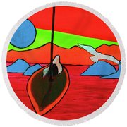 Boat, Bird And Moon Round Beach Towel