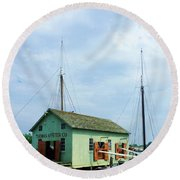 Round Beach Towel featuring the photograph Boat By Oyster Shack by Susan Savad