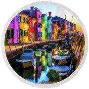 Boat Canal Round Beach Towel