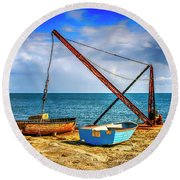 Boat Crane At Portland Uk Round Beach Towel by Chris Smith