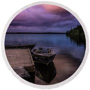 Boat Dock At Sunrise Round Beach Towel