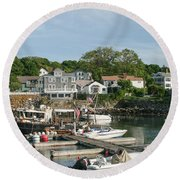 Boat Dock Round Beach Towel